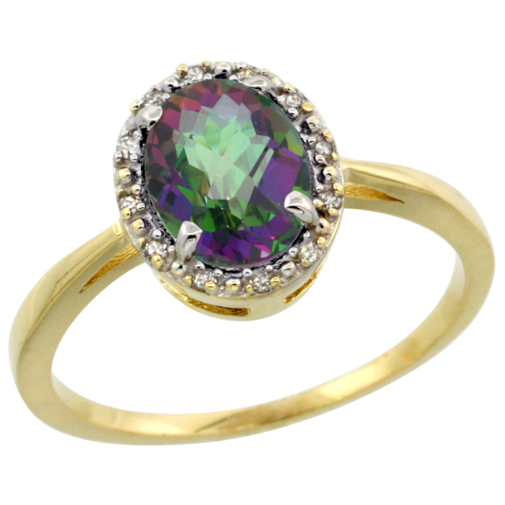 14K Yellow Gold Natural Mystic Topaz Ring Oval 8x6 mm Diamond Halo, sizes 5-10