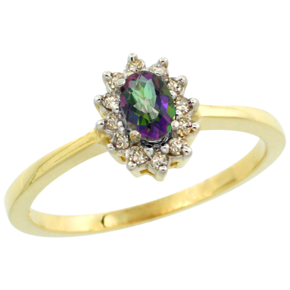 10k Yellow Gold Natural Mystic Topaz Ring Oval 5x3mm Diamond Halo, sizes 5-10