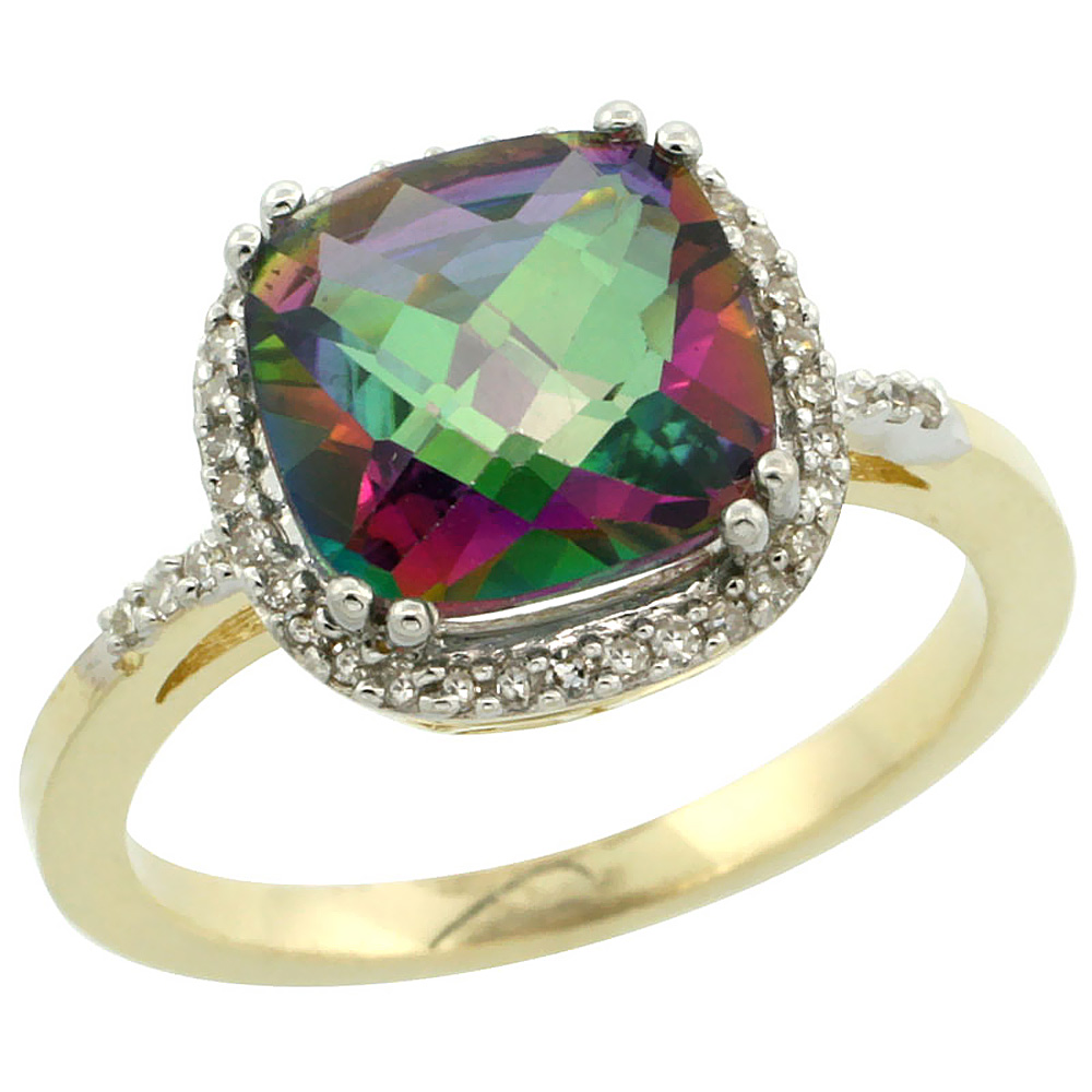 14K Yellow Gold Diamond Natural Mystic Topaz Ring Cushion-cut 9x9mm, sizes 5-10