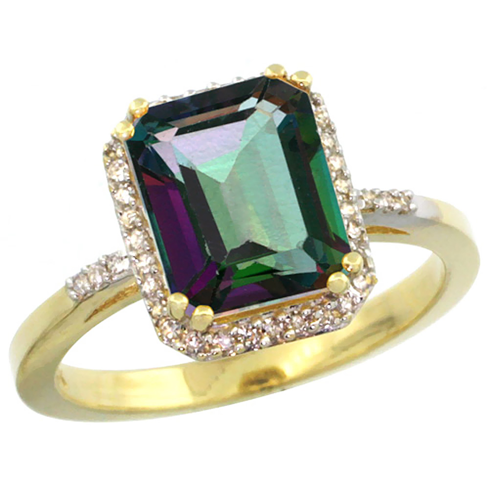 14K Yellow Gold Diamond Natural Mystic Topaz Ring Emerald-cut 9x7mm, sizes 5-10