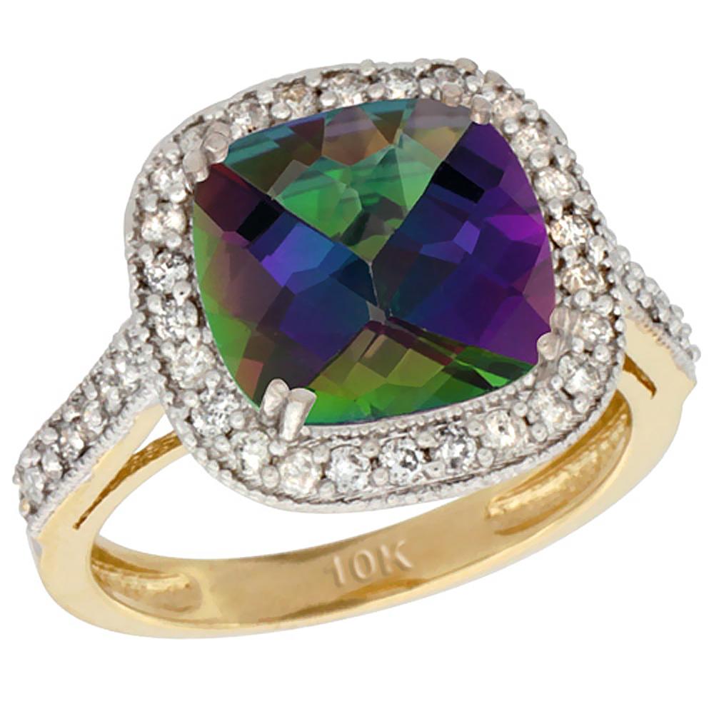 Filigree Rings for Women,14k Gold Oval Cut Mystic Rainbow Topaz Ring,Size 6 7 8 9