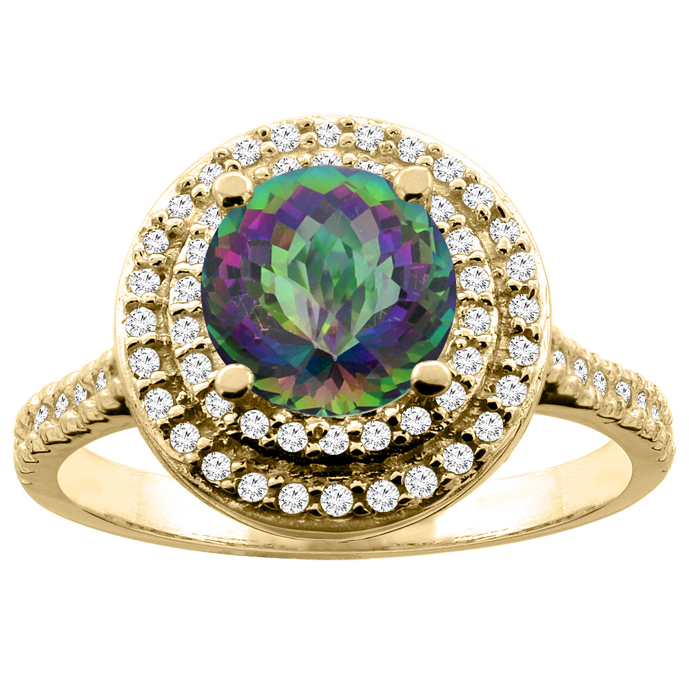 14K White/Yellow Gold Natural Mystic Topaz Double Halo Ring Round 7mm Diamond Accent, sizes 5 - 10