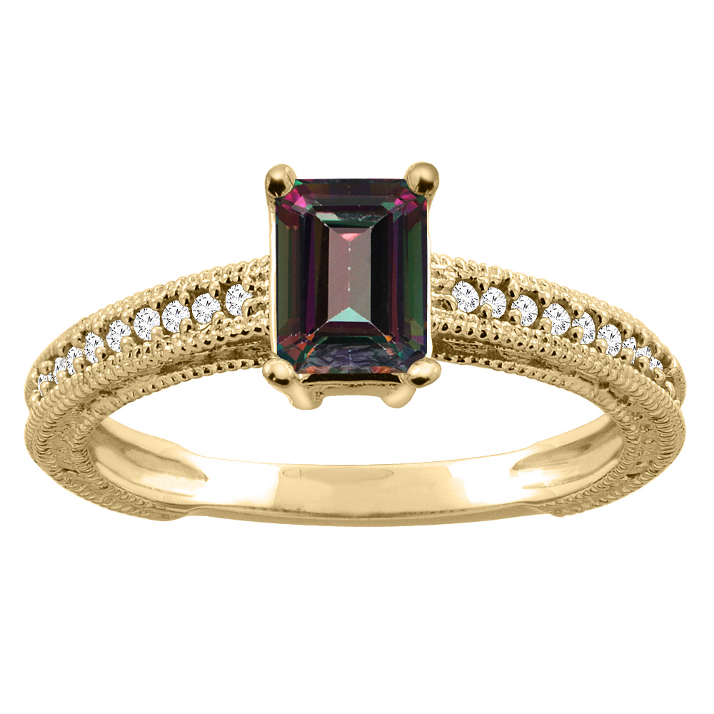 14K Gold Natural Mystic Topaz Engagement Ring Octagon 8x6mm Diamond Accents, sizes 5 - 10