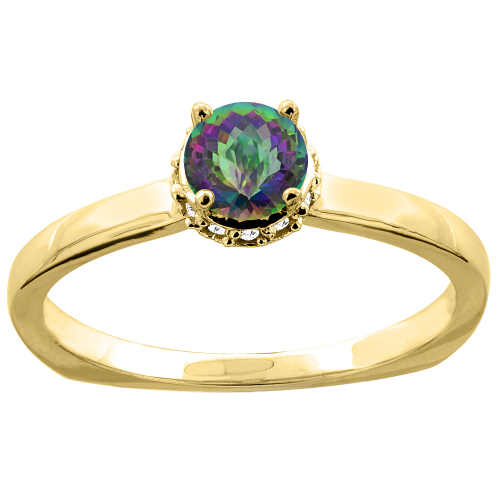 14K Yellow Gold Natural Mystic Topaz Solitaire Engagement Ring Round 4mm Diamond Accents, size 10