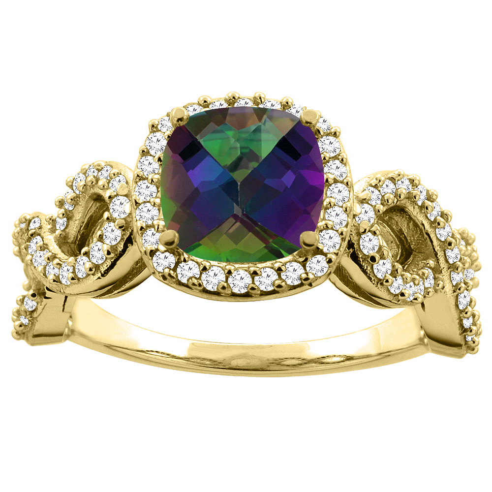 14K Gold Natural Mystic Topaz Engagement Ring Cushion 7mm Eternity Diamond Accents, sizes 5 - 10