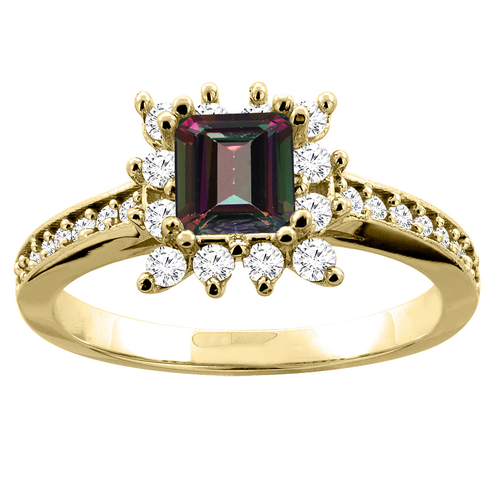 14K Yellow Gold Natural Mystic Topaz Engagement Ring Diamond Accents Square 5mm, sizes 5 - 10