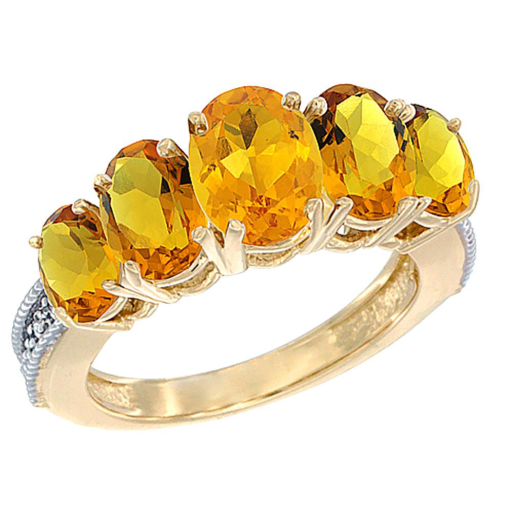 14K Yellow Gold Diamond Natural Citrine Ring 5-stone Oval 8x6 Ctr,7x5,6x4 sides, sizes 5 - 10