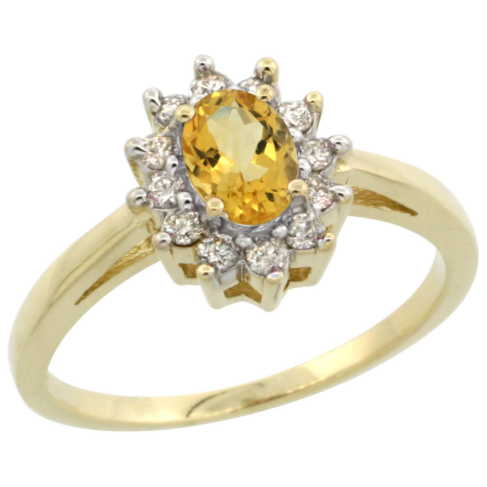 10K Yellow Gold Natural Citrine Flower Diamond Halo Ring Oval 6x4 mm, sizes 5-10