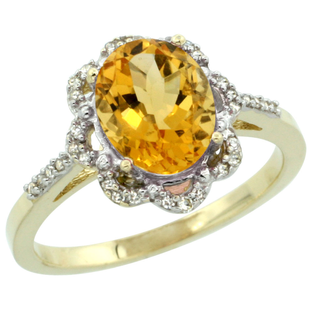 10K Yellow Gold Diamond Halo Natural Citrine Engagement Ring Oval 9x7mm, sizes 5-10