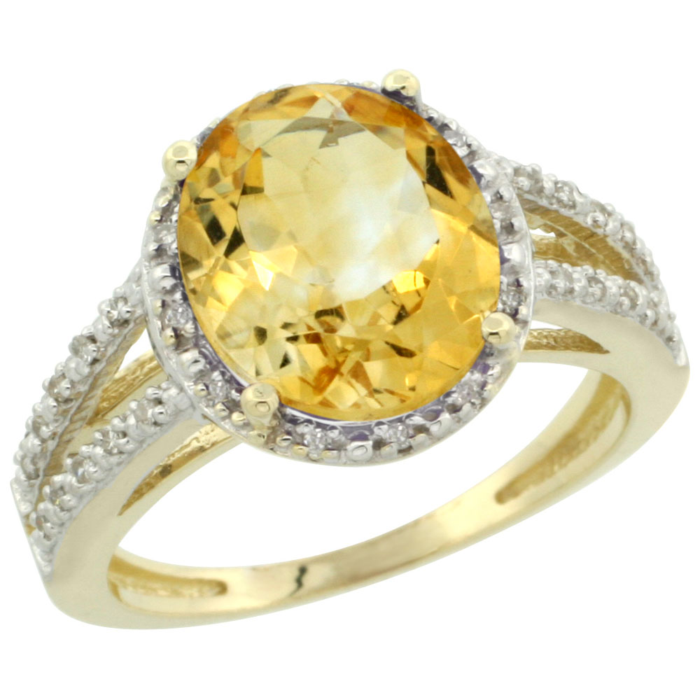 10K Yellow Gold Diamond Natural Citrine Ring Oval 11x9mm, sizes 5-10