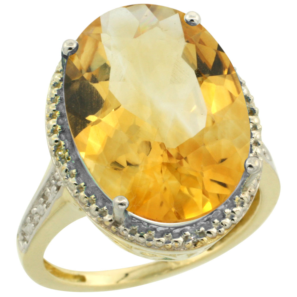 10K Yellow Gold Diamond Natural Citrine Ring Oval 18x13mm, sizes 5-10