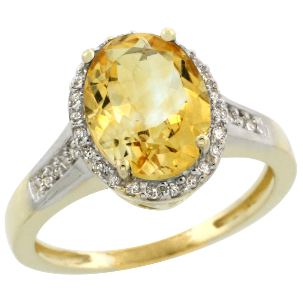 10K Yellow Gold Diamond Natural Citrine Engagement Ring Oval 10x8mm, sizes 5-10