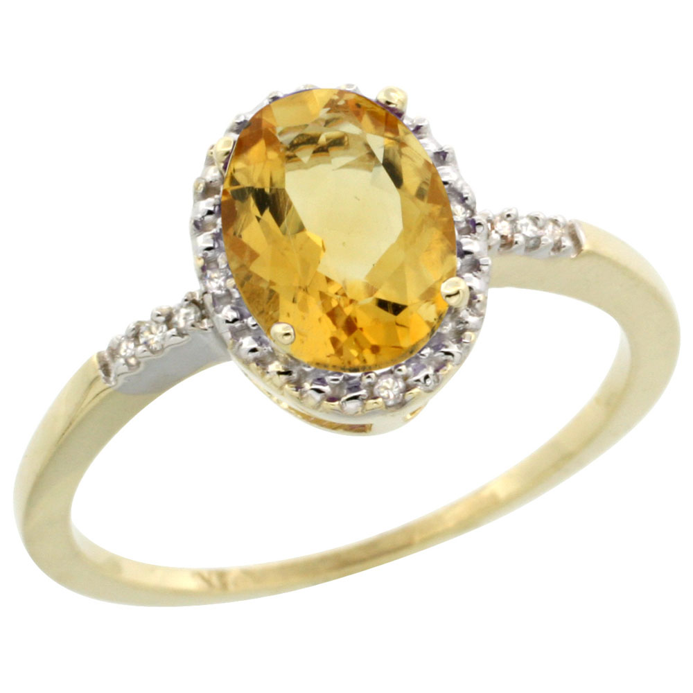 10K Yellow Gold Diamond Natural Citrine Ring Oval 8x6mm, sizes 5-10