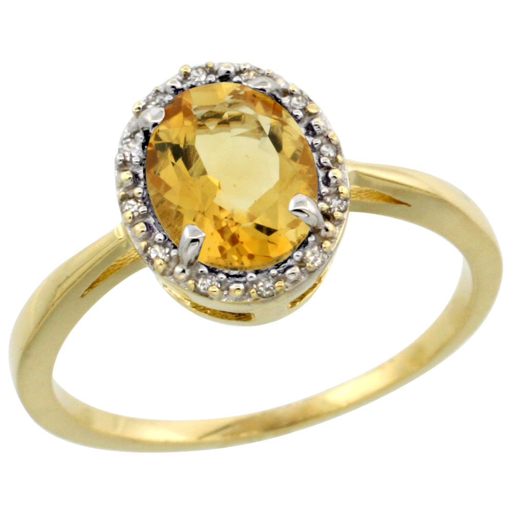 10k Yellow Gold Natural Citrine Ring Oval 8x6 mm Diamond Halo, sizes 5-10