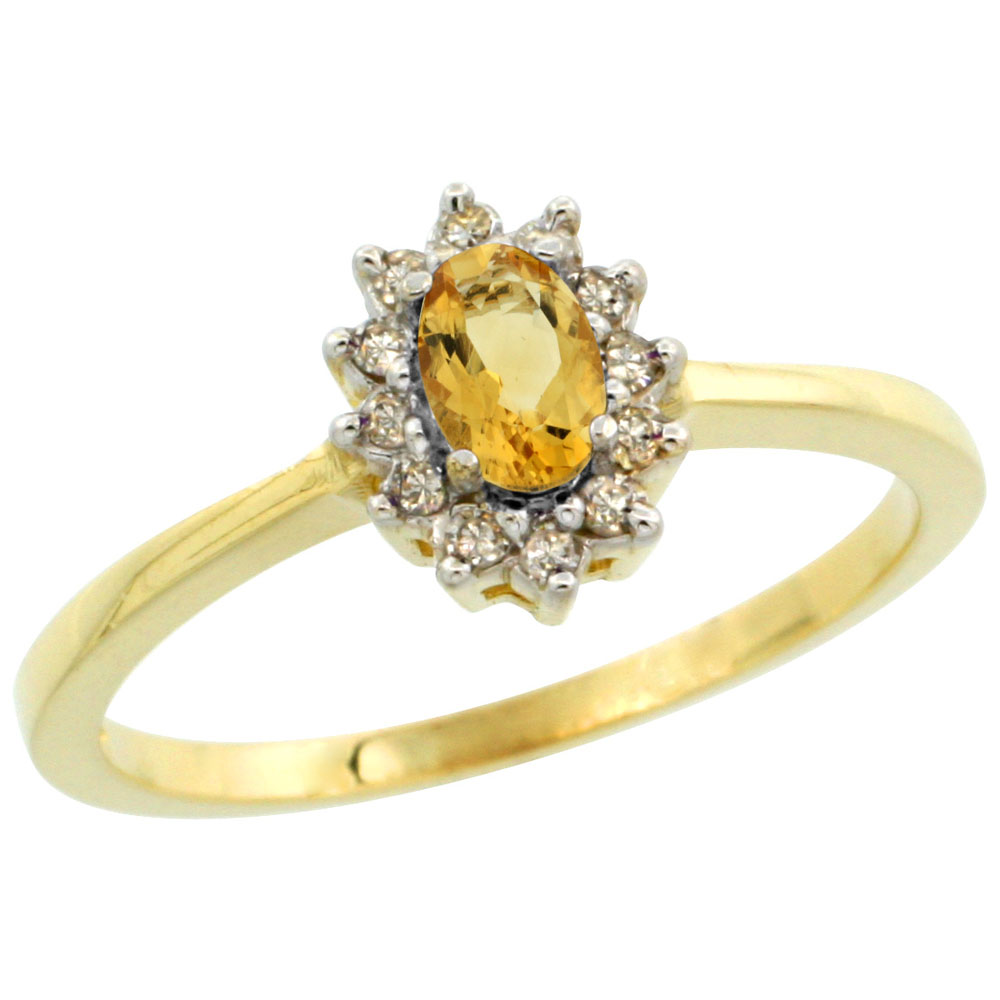 10k Yellow Gold Natural Citrine Ring Oval 5x3mm Diamond Halo, sizes 5-10