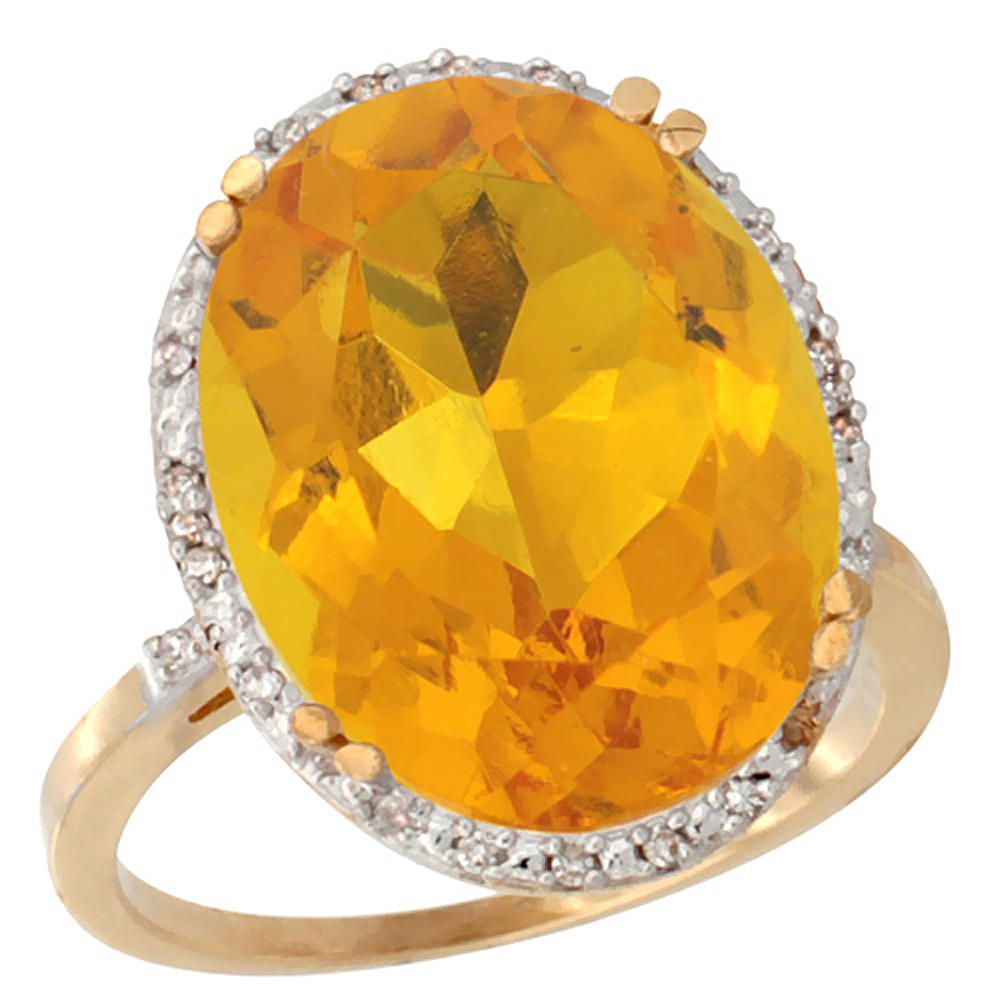 14K Yellow Gold Natural Citrine Ring Large Oval 18x13mm Diamond Halo, sizes 5-10