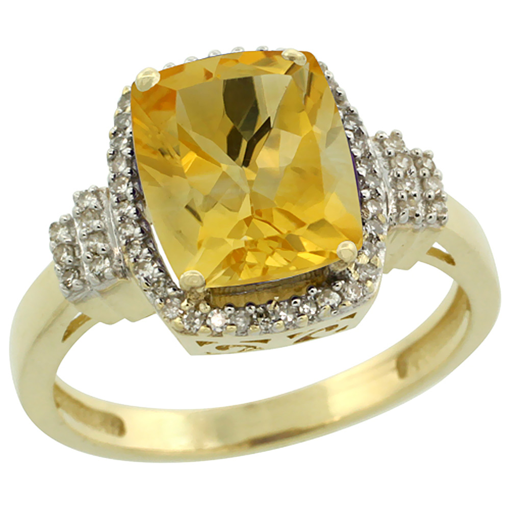 14K Yellow Gold Natural Citrine Ring Cushion-cut 9x7mm Diamond Halo, sizes 5-10