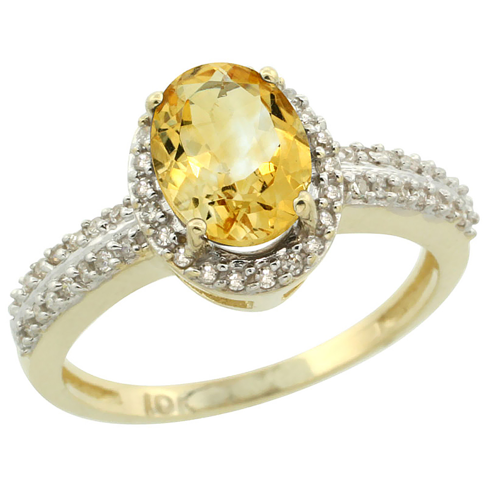 14K Yellow Gold Natural Citrine Ring Oval 8x6mm Diamond Halo, sizes 5-10