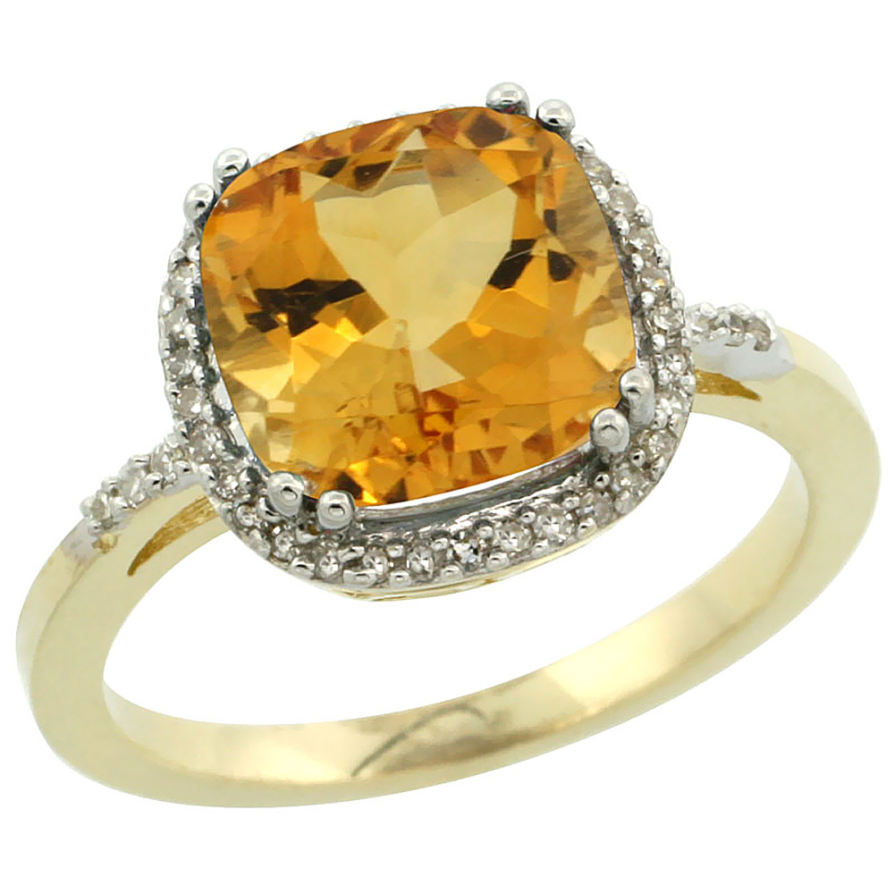 14K Yellow Gold Diamond Natural Citrine Ring Cushion-cut 9x9mm, sizes 5-10