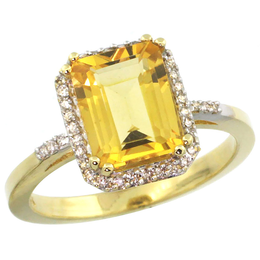 14K Yellow Gold Diamond Natural Citrine Ring Emerald-cut 9x7mm, sizes 5-10