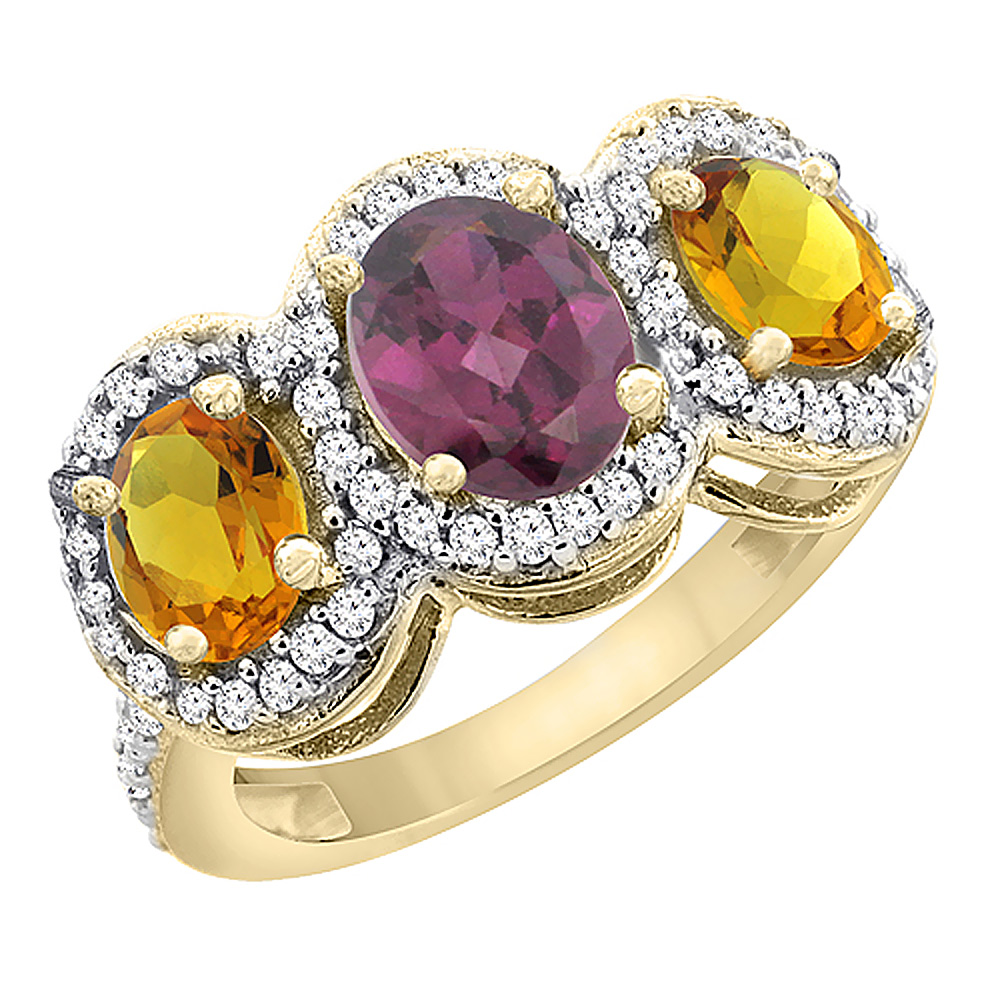 10K Yellow Gold Natural Rhodolite & Citrine 3-Stone Ring Oval Diamond Accent, sizes 5 - 10