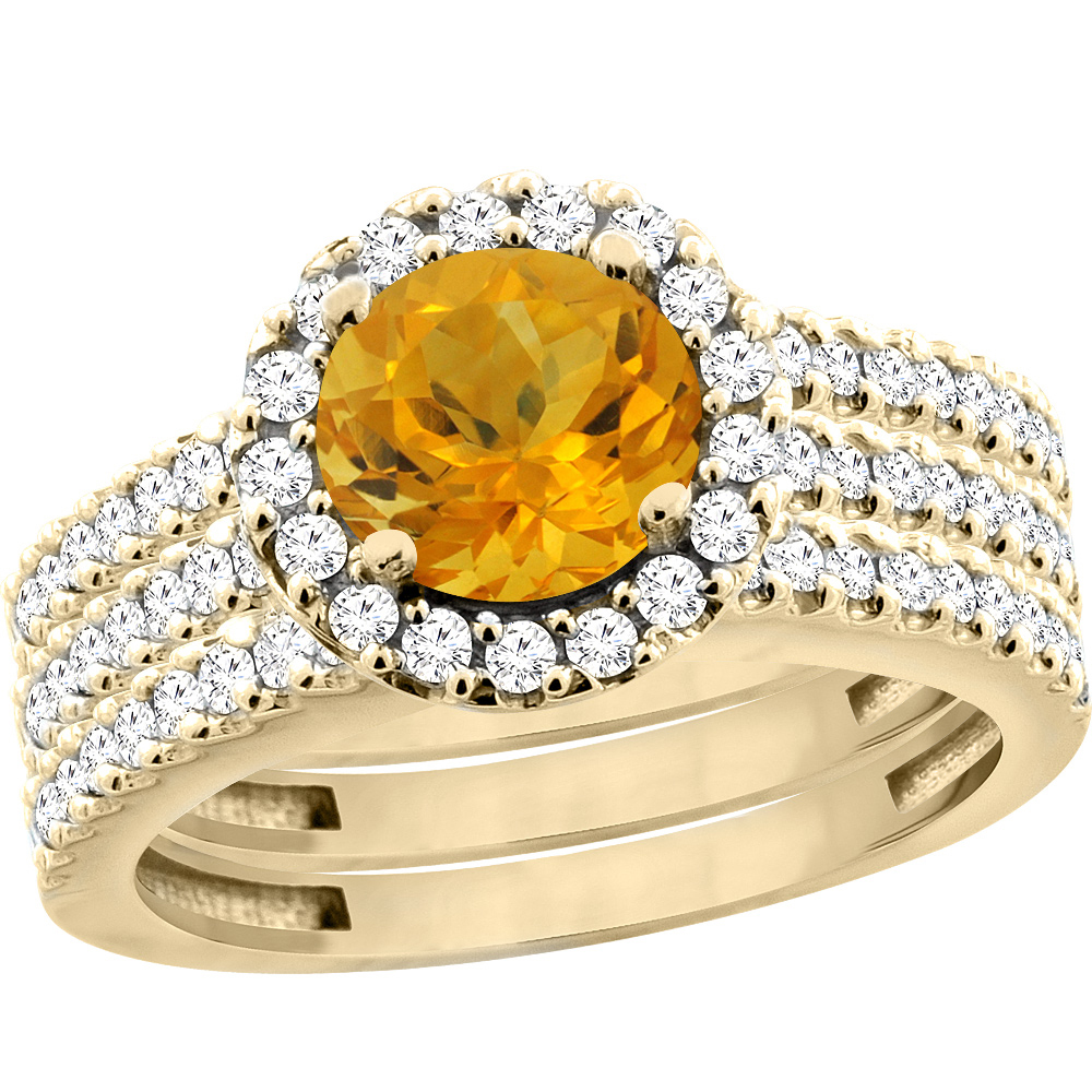 14K Yellow Gold Natural Citrine 3-Piece Bridal Ring Set Round 6mm Halo Diamond, sizes 5 - 10