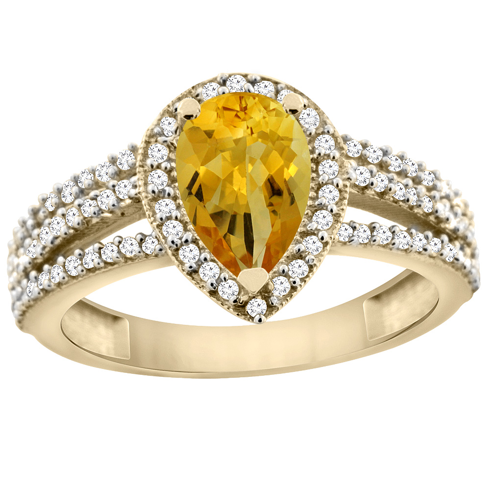 14K Yellow Gold Natural Citrine Ring 9x7 Pear Halo Diamond, sizes 5 - 10
