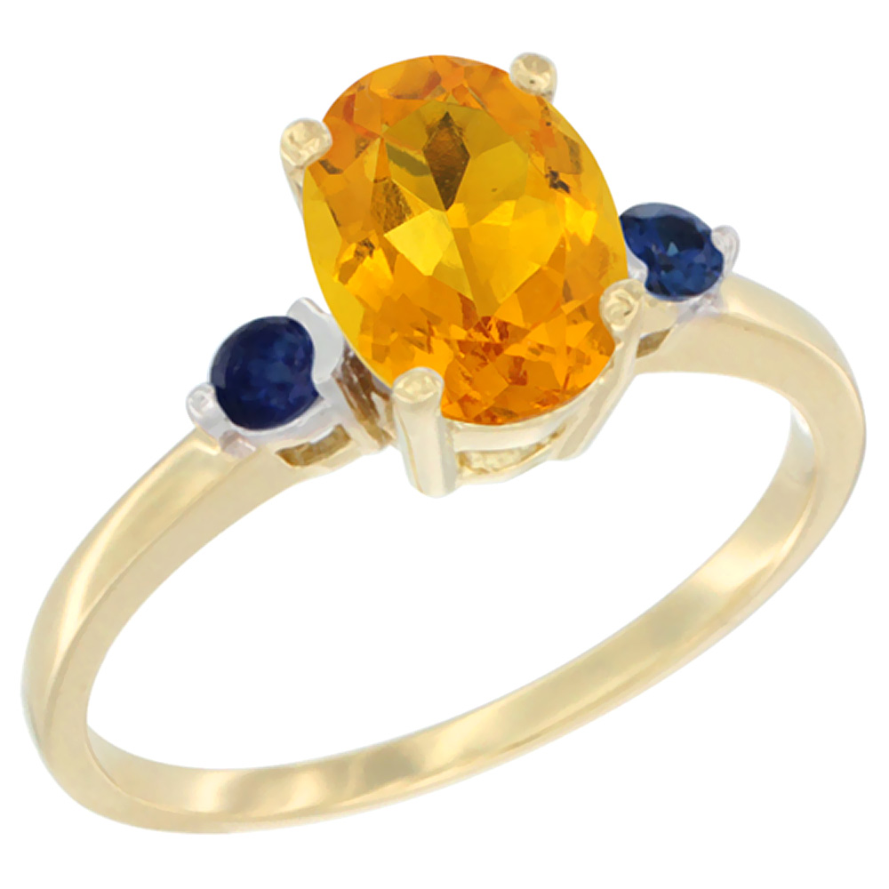 14K Yellow Gold Natural Citrine Ring Oval 9x7 mm Blue Sapphire Accent, sizes 5 to 10