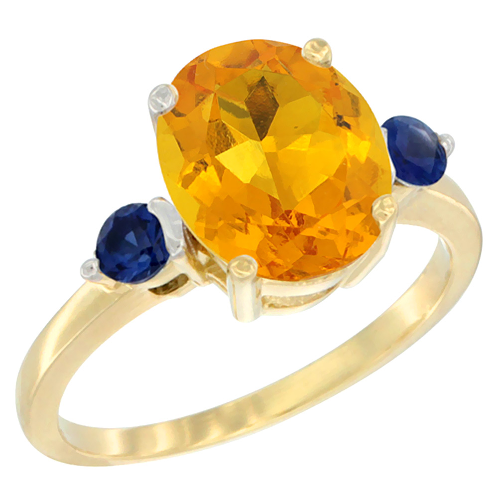 14K Yellow Gold Natural Citrine Ring Oval 10x8mm Blue Sapphire Accent, sizes 5 - 10