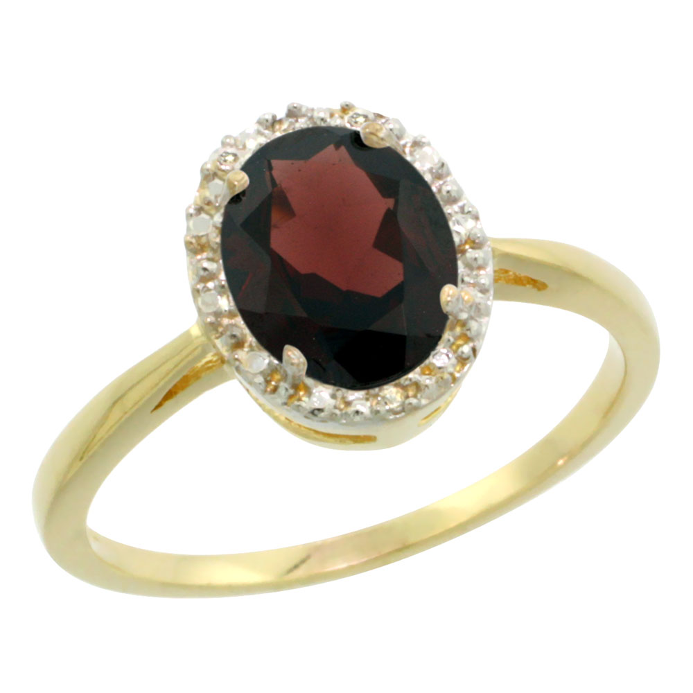 14K Yellow Gold Natural Garnet Diamond Halo Ring Oval 8X6mm, sizes 5-10