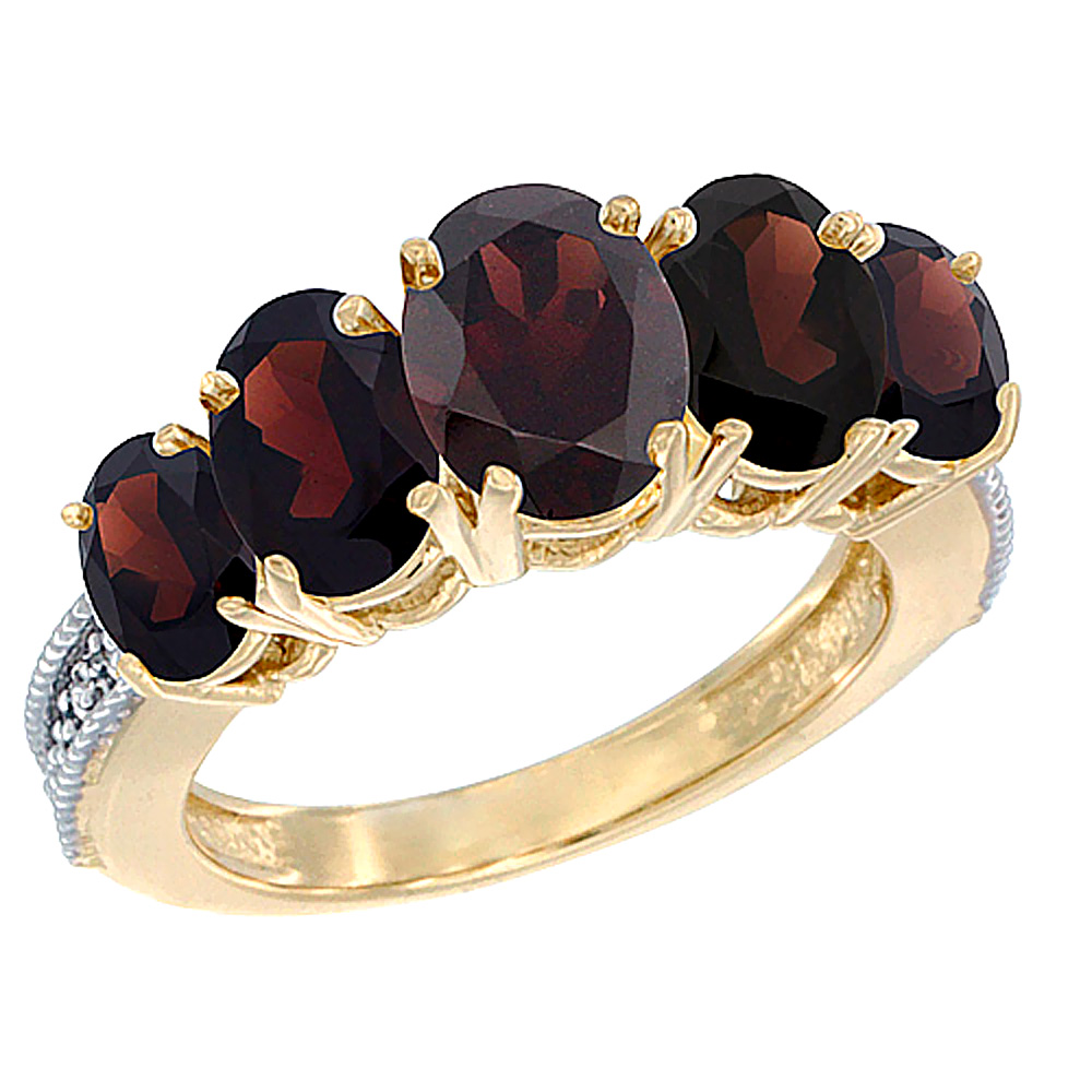 14K Yellow Gold Diamond Natural Garnet Ring 5-stone Oval 8x6 Ctr,7x5,6x4 sides, sizes 5 - 10