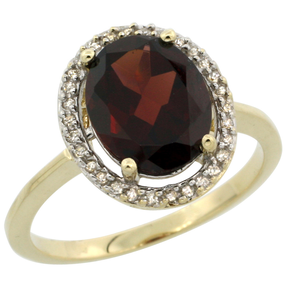 10K Yellow Gold Diamond Halo Natural Garnet Engagement Ring Oval 10x8 mm, sizes 5-10