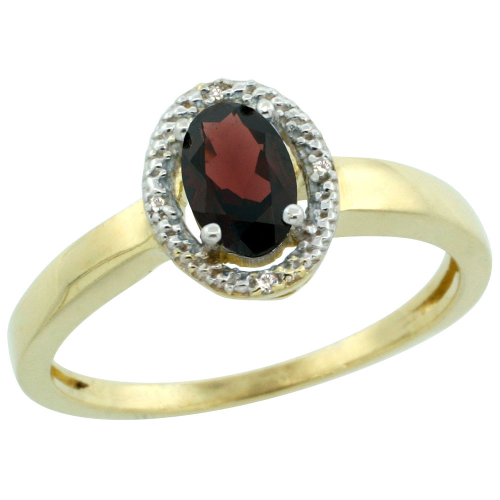 10K Yellow Gold Diamond Halo Natural Garnet Engagement Ring Oval 6X4 mm, sizes 5-10