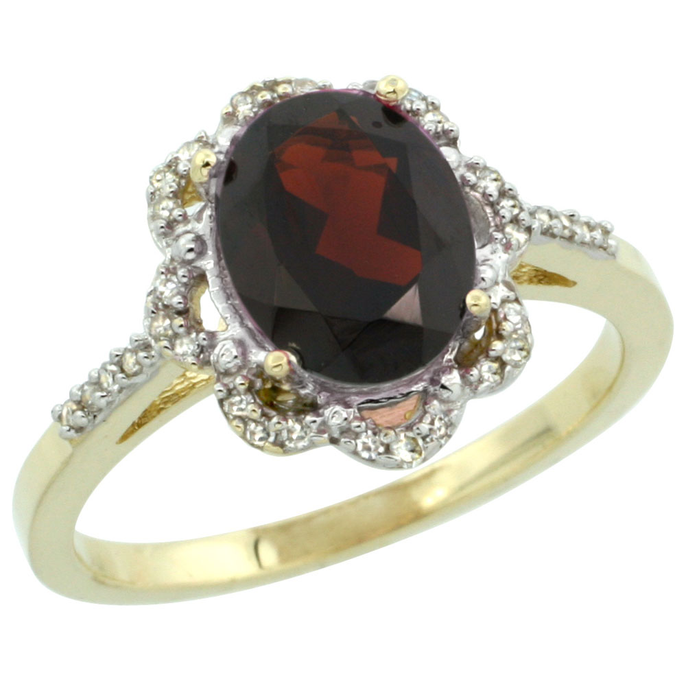 14K Yellow Gold Diamond Halo Natural Garnet Engagement Ring Oval 9x7mm, sizes 5-10