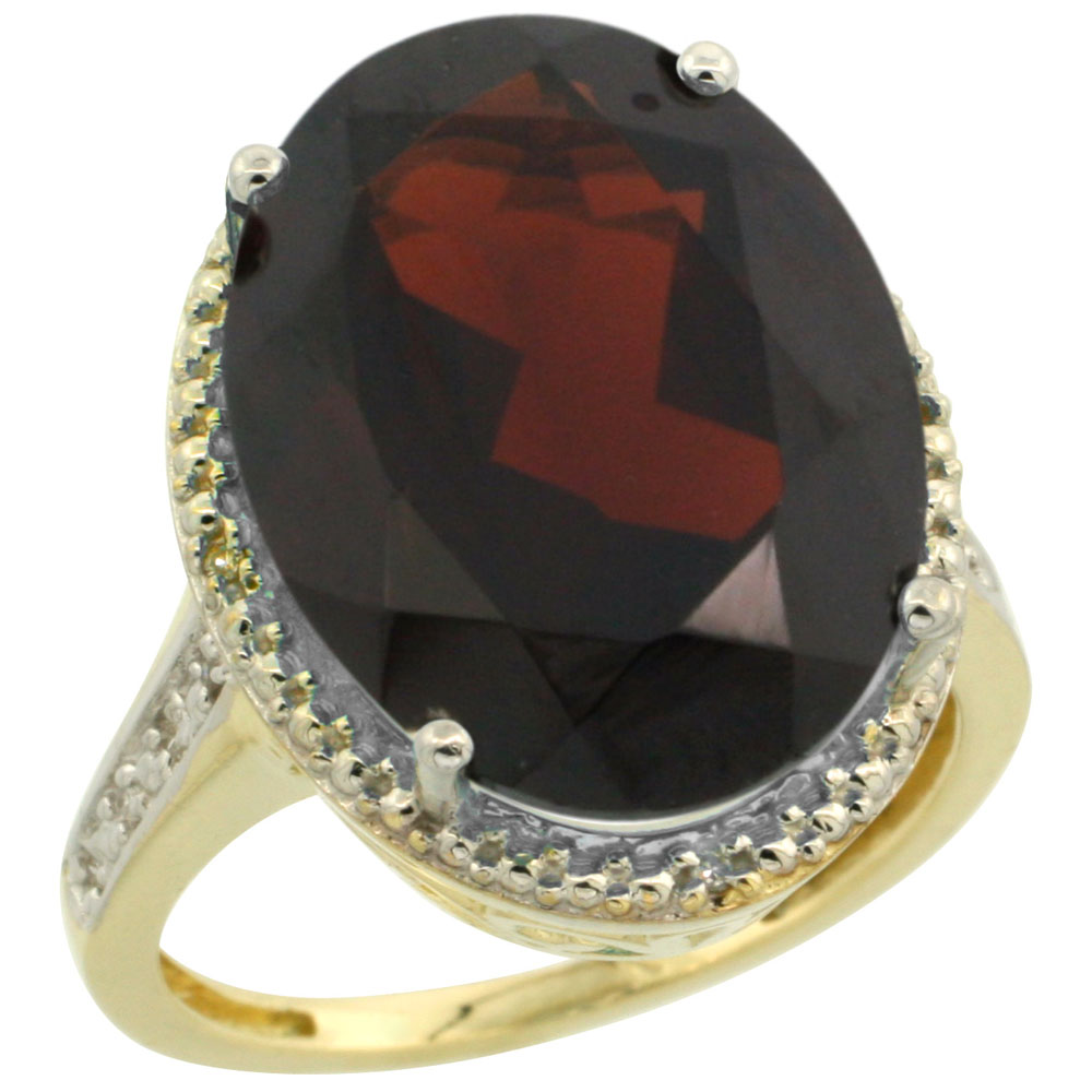 14K Yellow Gold Diamond Natural Garnet Ring Oval 18x13mm, sizes 5-10