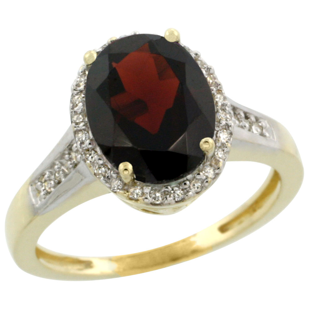 14K Yellow Gold Diamond Natural Garnet Engagement Ring Oval 10x8mm, sizes 5-10