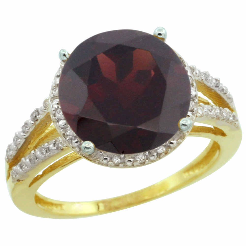 10K Yellow Gold Diamond Natural Garnet Ring Round 11mm, sizes 5-10