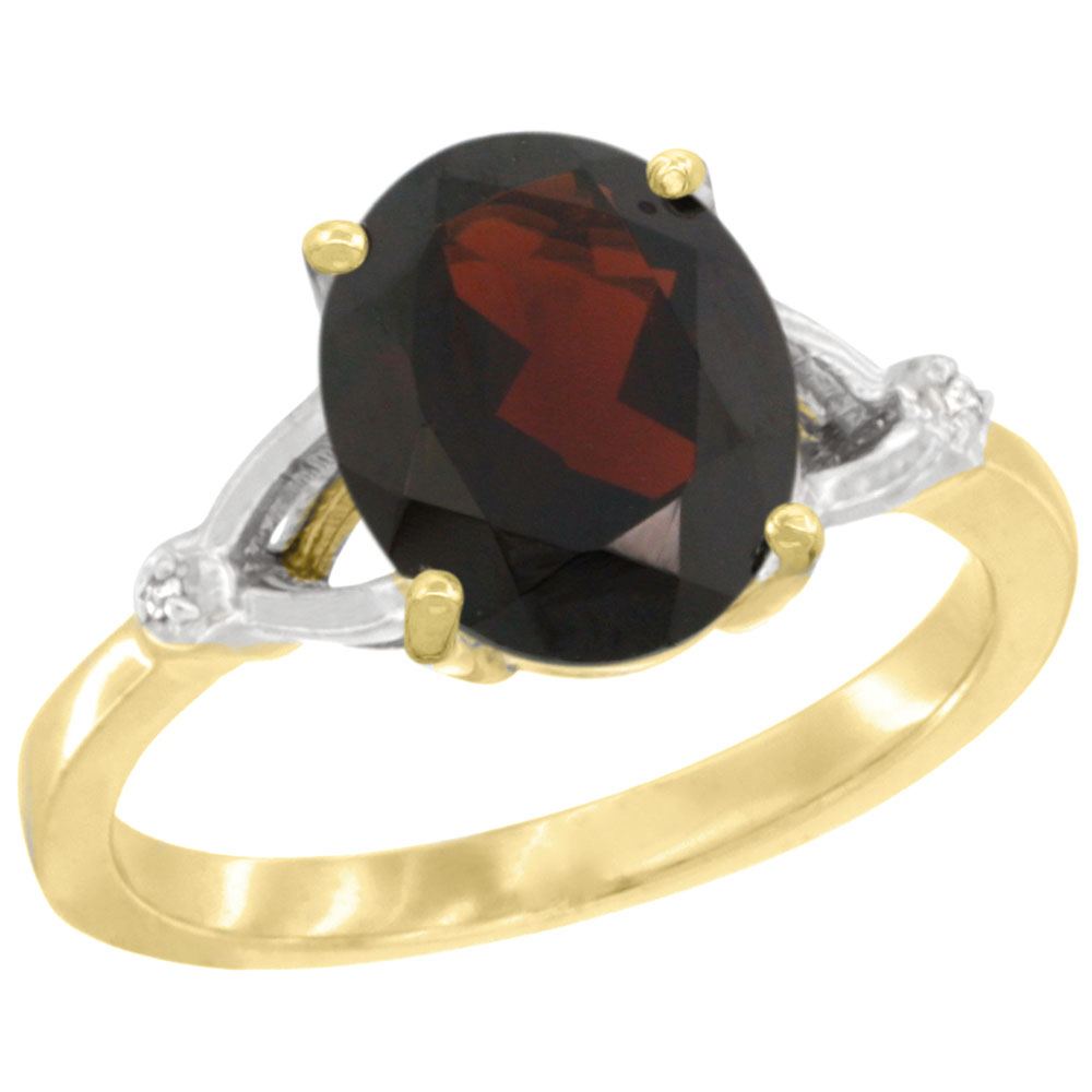10K Yellow Gold Diamond Natural Garnet Engagement Ring Oval 10x8mm, sizes 5-10