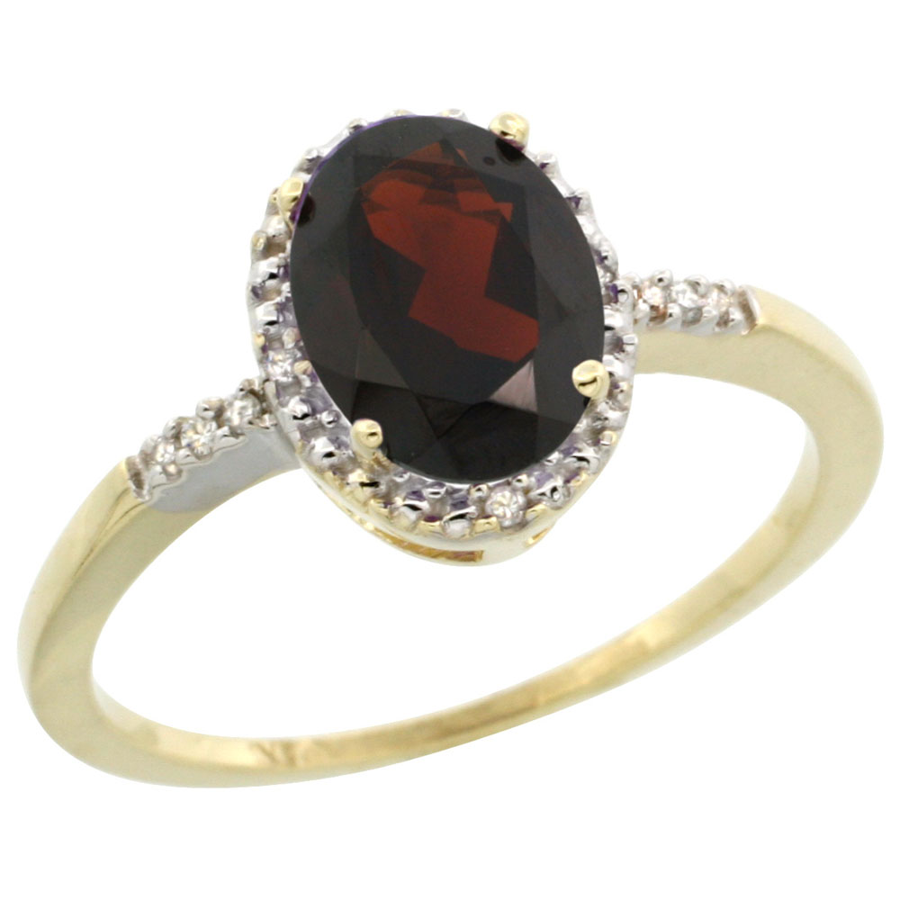 10K Yellow Gold Diamond Natural Garnet Ring Oval 8x6mm, sizes 5-10