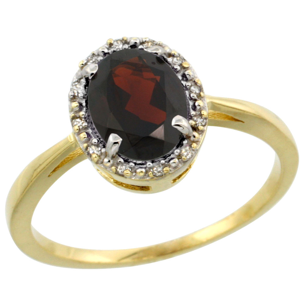 14K Yellow Gold Natural Garnet Ring Oval 8x6 mm Diamond Halo, sizes 5-10