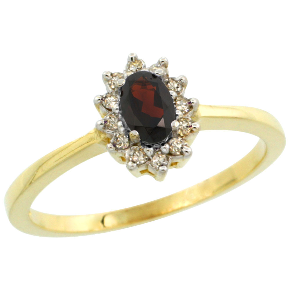 14K Yellow Gold Natural Garnet Ring Oval 5x3mm Diamond Halo, sizes 5-10
