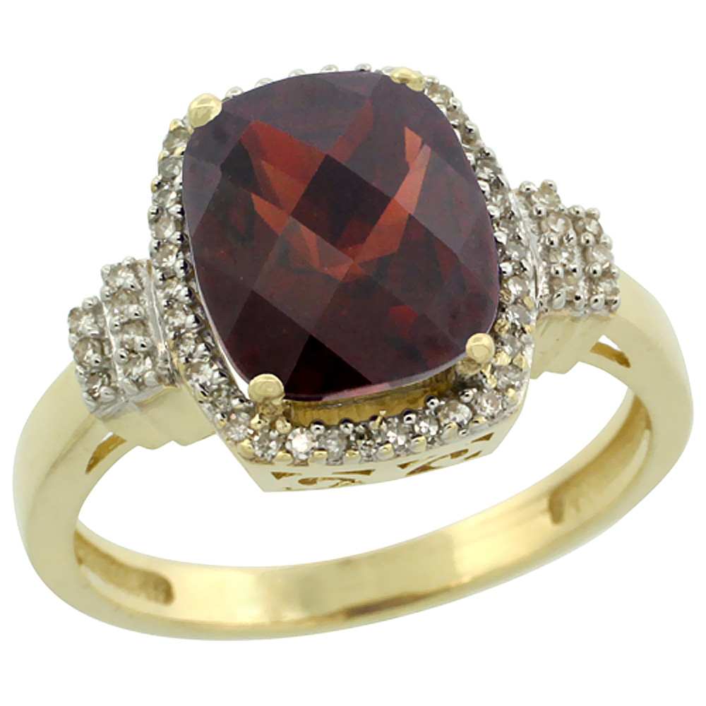 14K Yellow Gold Natural Garnet Ring Cushion-cut 9x7mm Diamond Halo, sizes 5-10