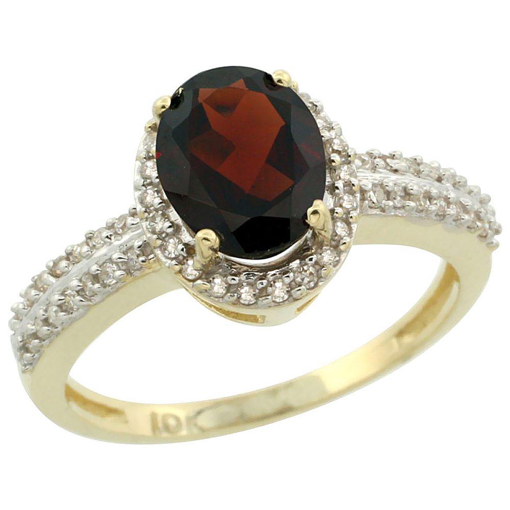 14K Yellow Gold Natural Garnet Ring Oval 8x6mm Diamond Halo, sizes 5-10