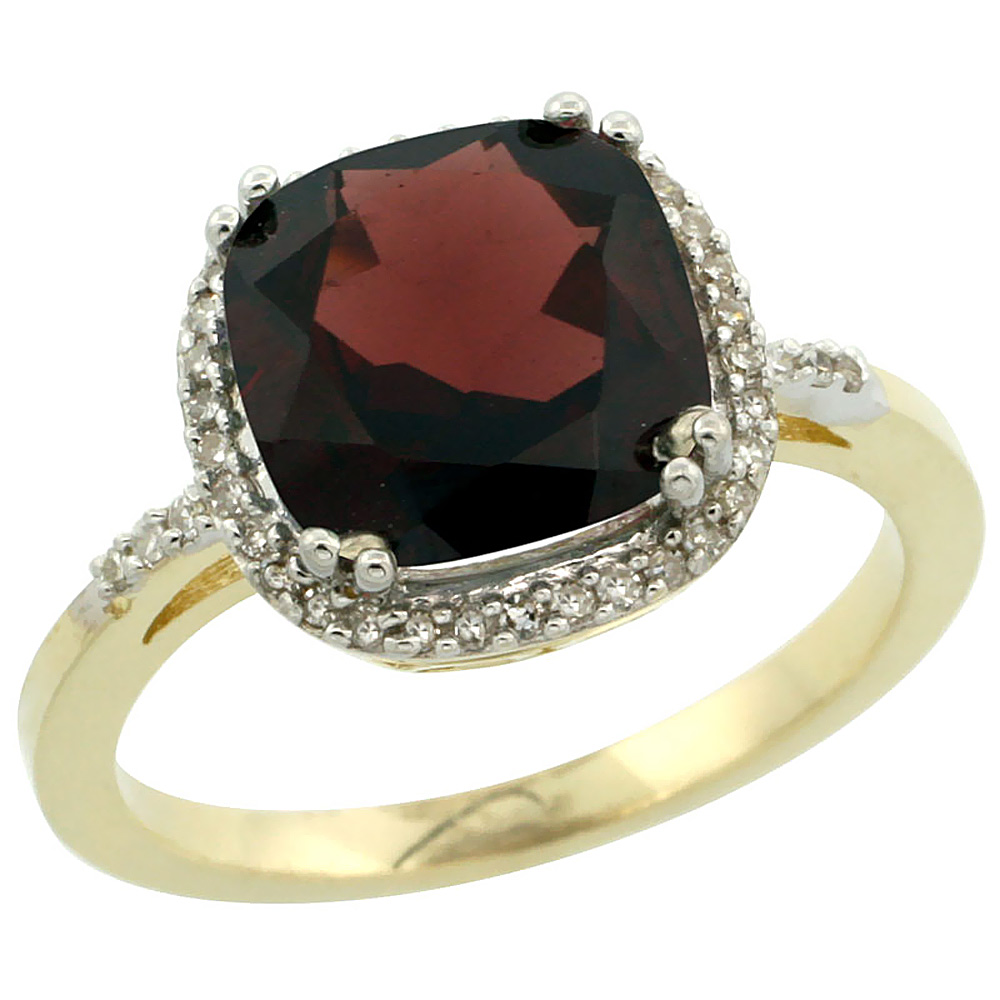 14K Yellow Gold Diamond Natural Garnet Ring Cushion-cut 9x9mm, sizes 5-10