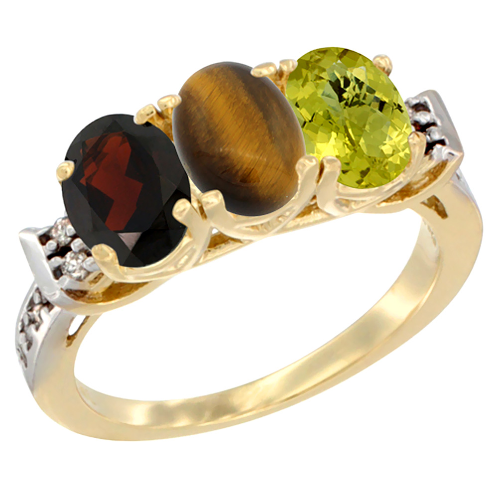 10K Yellow Gold Natural Garnet, Tiger Eye & Lemon Quartz Ring 3-Stone Oval 7x5 mm Diamond Accent, sizes 5 - 10