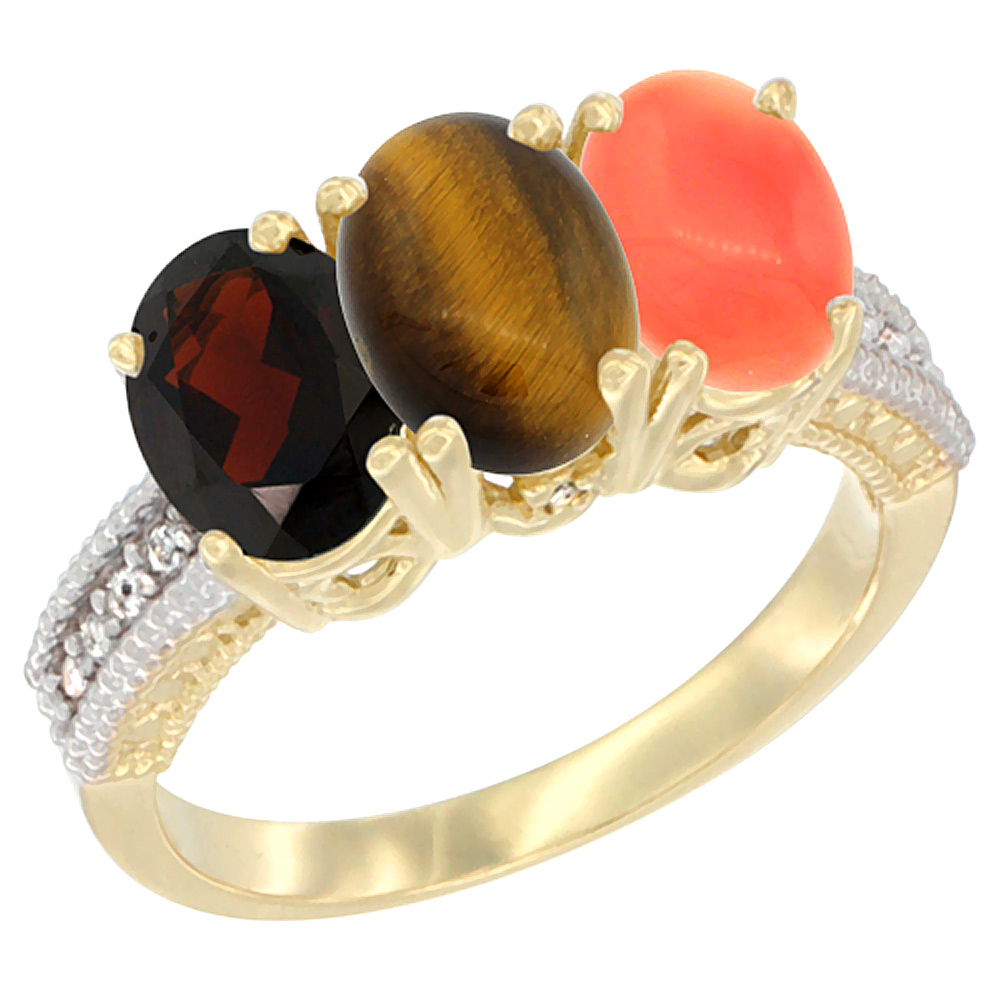 10K Yellow Gold Diamond Natural Garnet, Tiger Eye & Coral Ring 3-Stone 7x5 mm Oval, sizes 5 - 10