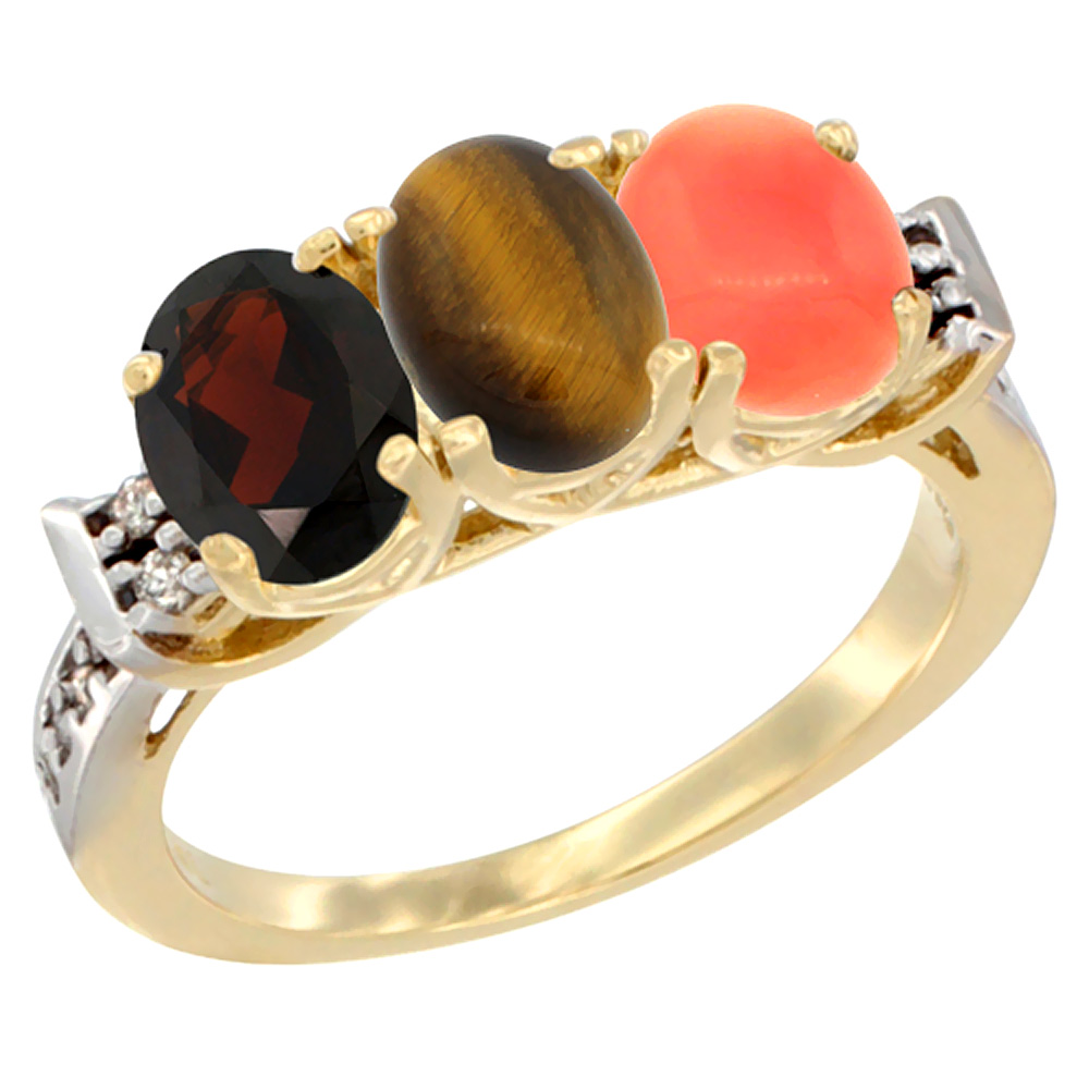 10K Yellow Gold Natural Garnet, Tiger Eye & Coral Ring 3-Stone Oval 7x5 mm Diamond Accent, sizes 5 - 10