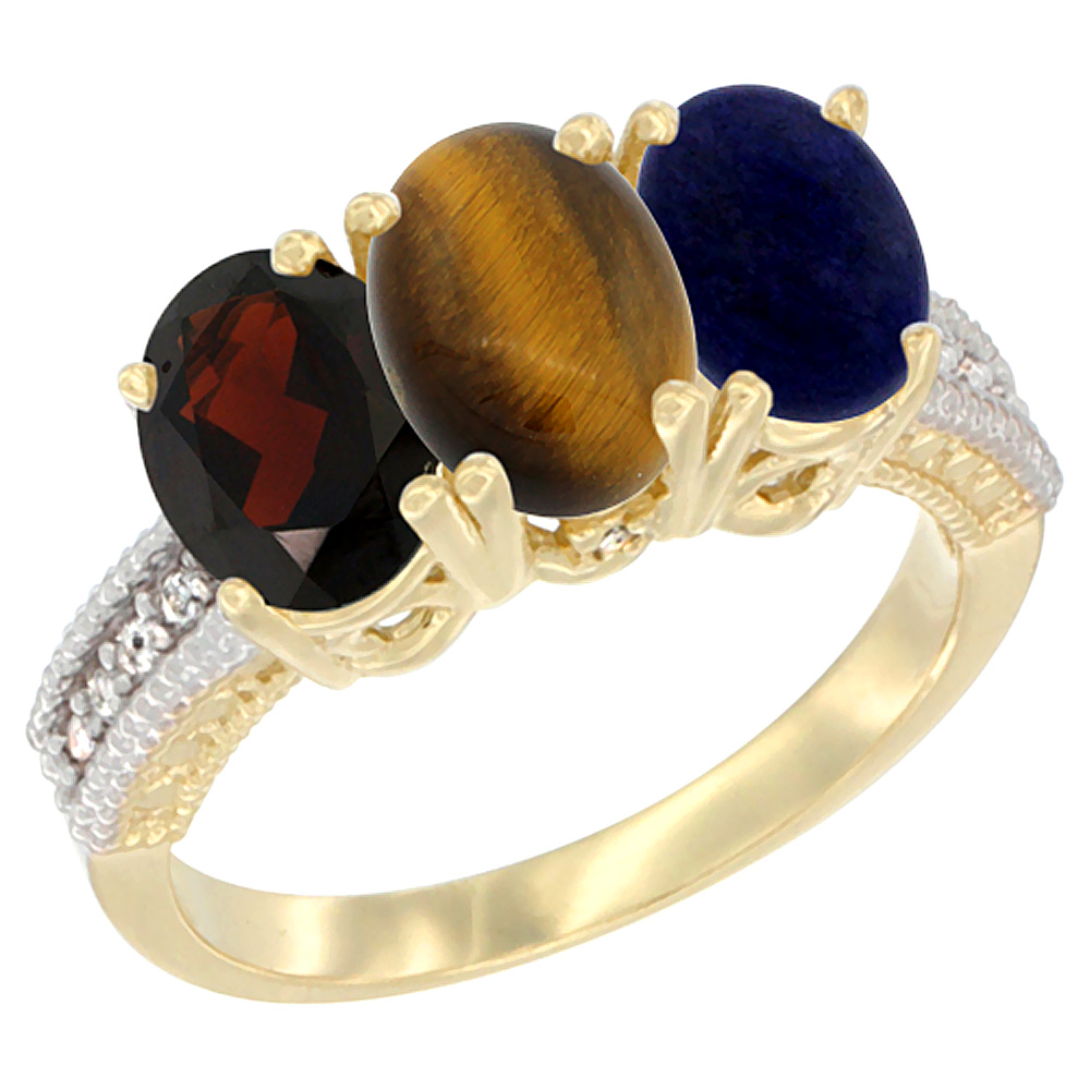 10K Yellow Gold Diamond Natural Garnet, Tiger Eye & Lapis Ring 3-Stone 7x5 mm Oval, sizes 5 - 10
