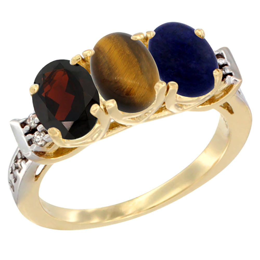 10K Yellow Gold Natural Garnet, Tiger Eye & Lapis Ring 3-Stone Oval 7x5 mm Diamond Accent, sizes 5 - 10