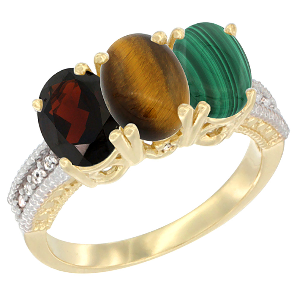 10K Yellow Gold Diamond Natural Garnet, Tiger Eye & Malachite Ring 3-Stone 7x5 mm Oval, sizes 5 - 10